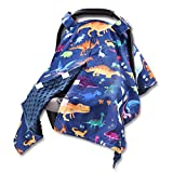 Hooyax Dinosaur Baby Car Seat Canopy Soft Minky Plush Dotted Backing Baby Car Seat Cover Breastfeeding Cover Nursing Cover for Baby Boys and Girls