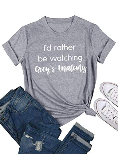 ZXH Women I'd Rather be Watching Anatomy Letter Print T-Shirt Short Sleeve Pullover Tops