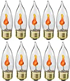 Creative Hobbies 10J Flicker Flame Light Bulb -Flame Shaped, E26 Standard Base, Flickering Orange Glow - Box of 10 Bulbs