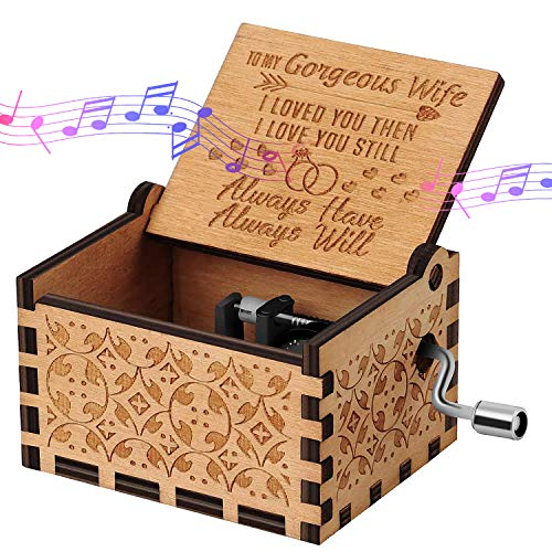 You are My Sunshine Wood Music Boxes, Wooden Hand Crank Music Box to Wife, Gorgeous Wife Carved Musical Box, Gift for Birthday Christmas Valentine's Day Home Decoration Crafts (My Gorgeous Wife)