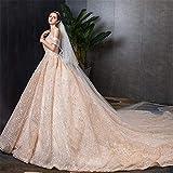 Vestido de novia Vestido largo de una palabra de gasa con hombros descubiertos for mujer Vestido largo de fiesta de noche Tallas múltiples Vestido de novia de fantasía ( Color : Champagne , Size : S )
