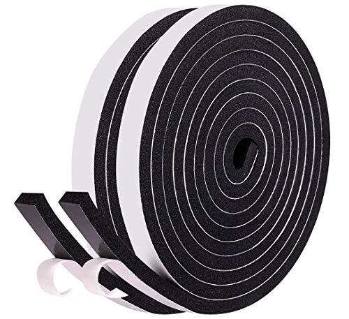 Dichtungsband für Türen Fenster 12mm (B) x6mm(D) x8m(L) Schwarzes selbstklebendes Schaumstoff Türdichtungen Gummidichtung Dichtungsband kochfeld Anti-Kollision Gegen warme kalte Zugluft und Lärm