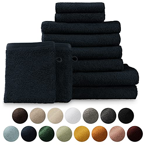 Blumtal Set de 2 Toallas de Baño + 4 Toallas de Lavabo + 2 Toallas de Tocador + 2 Toallas para la Cara - Toallas Suaves y Absorebentes, 100% algodón, Certificado Oeko-Tex 100, Azul Oscuro