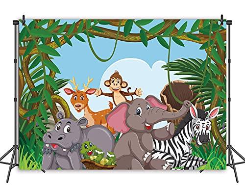 RUINI - Telón de fondo de poliéster con diseño de animales de la selva Wildfield Zoo de dibujos animados de amigos, mono, elefante, fiesta de cumpleaños para niños