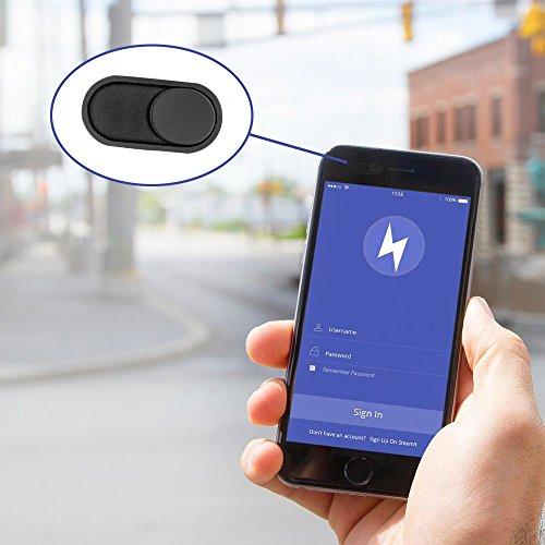 CloudValley 0.6 mm Fino Metal portatil Negro Webcam Tapa, Protege Su Privacidad, Apta para MacBook Air/Pro, iMac, iPad Pro, iPhone, Tabletas, Android Inteligentes, Frontales Cámara[5 Paquete] miniatura