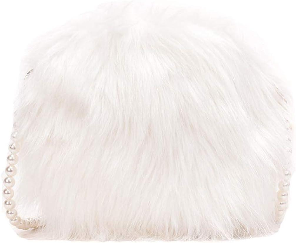 KESYOO Crossbody Bag Plush Pearl Chain Cellphone Small Purse Fuzzy Shoulder Pouch Evening Handbag for Women Ladies