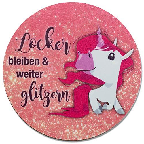 Einhorn-Mauspad Glitzer I Ø 22 cm rund I Mousepad mit Spruch I in Standard-Größe, rutschfest I rosa lustig I für Mädchen Teenager Frauen I dv_270
