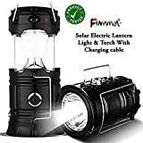 FINIVIVA Solar Lantern Emergency LED Light with Cable Bulb with USB and Mobile Charging 2 Power Sources Port (Assorted Colours)