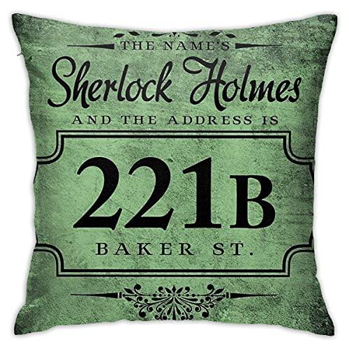 KEDFGUI Kissenbezüge The Name's Sherlock Holmes Kissen werfen dekorative Kissenbezug 18 x 18 Zoll für Schlafsofa