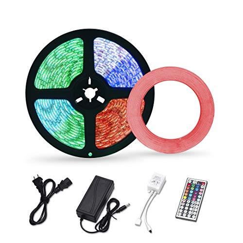 LED Strip Lights Waterproof,16.4ft 300leds RGB LED Light Strip 5050 Color Changing LED Strip Lights with Remote LED Tape Lights for Home Lighting Kitchen Decoration Mounting Tape