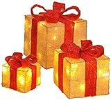 Il bambelaa Set scatole regalo è bella decorazione natalizia decorativa a LED che possono essere messi sia insieme come anche singolarmente. Ad esempio sotto l' albero di Natale. Le dimensioni delle scatole è di circa (altezza x larghezza x profondit...
