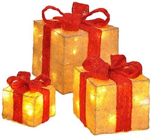 Bambelaa! 3er Led Deko Geschenke Leucht Boxen Timer Weihnachts Dekoration Weihnachtsdeko Beleuchtet Deko Weihnachten (Gelb)