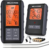Meat Thermometer Wireless - Digital Grill Thermometer for Outside Grill, BBQ Thermometer, Meat Thermometer for Smokers, Cooking, Oven, Grilling - 490Feet Remote Kitchen Food Thermometer, Grey