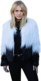 Choies Women's Two Tone Shaggy Faux Fur Coat