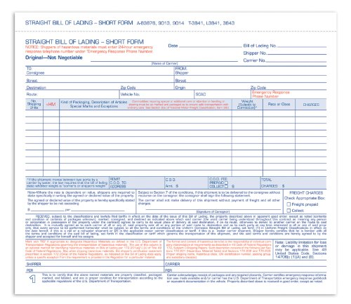 Adams Bill of Lading Short Forms, 8.5 x 7.44 Inch, 4-Part, 50-Pack, White (9014)