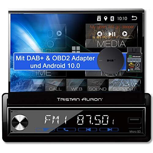 Tristan Auron BT1D7027A Android 10.0 Autoradio + OBD 2 und DAB+ Box I 7'' Touchscreen ausfahrbar I GPS Navi 32GB Bluetooth Freisprecheinrichtung I USB SD DAB Plus 1 DIN