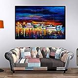 Said Moderna pintura al óleo de yate nórdico sobre lienzo, póster de imagen de mar con imagen de mar para decoración de salón, 50 x 75 cm, sin marco