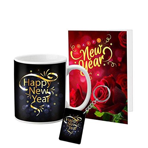 VESPL LOF Golden Happy New Year Wish Greeting Message Card Ceramic Mug Keychain, 1 Cup, White