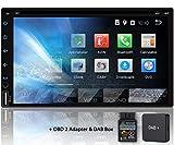 Tristan Auron BT2D7018A-DVD Autoradio mit DAB Box + OBD2 Adapter, 7'' Touchscreen Bildschirm, Android 9.0, GPS Navi, Bluetooth Freisprecheinrichtung, Quad Core, CD DVD Laufwerk, USB/SD, 2...