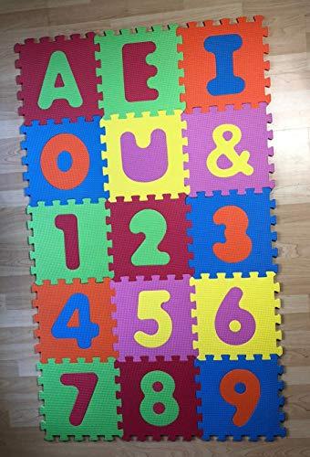 ML Alfombra Puzzle para Bebe, Proteccion del Suelo de la habitacion niños y niñas 15pcs 30cm numeros y Letras vocales