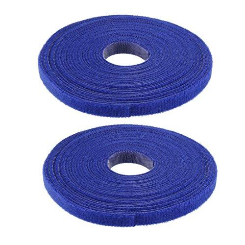 DyniLao Sujetacables reutilizables 5m 16.4ft Correas de alambre Sujetador de cable ajustable Azul 2pcs