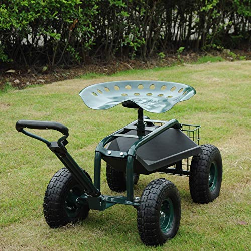 KARMAS PRODUCT SteerableGarden Stool Cart with Tool Trayand Storage Basket on Wheels Rolling Work Seat Heavy Duty Scooter with Extendable Steer Handle Green