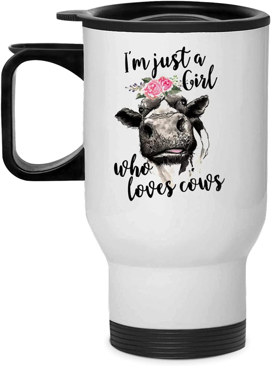 I M Just A Girl Who Loves Cows Flower Women 13.5oz Car Cup Stainless Steel Vacuum Travel Mug For Best Gift Print Tumbler Kitchen Home Decor Stuff (White) (White1)