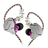 KZ ZSN Pro Dynamic Hybrid Dual Driver in Ear Earphones Detachable Tangle-Free Cable Musicians in-Ear Earbuds Headphones (Purple Without Mic)