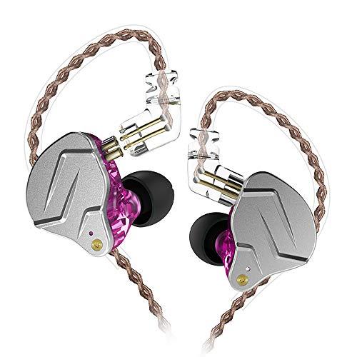 KZ ZSN Pro Dynamic Hybrid Dual Driver in Ear Earphones Detachable Tangle-Free Cable Musicians in-Ear Earbuds Headphones (Purple Without Mic)