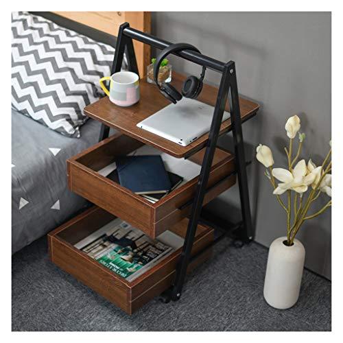 ELYSYSRL nachtkastje telefoon tafels beweegbare armen bank tafel met lade met opslag plank opslag uitbreidbare laptop bureau console tabel 42X42 cm Eiken Kleur