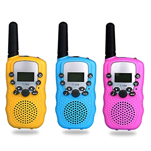 TX Walkie Talkies for Kids 3 Pack, Toys for Kids 22 Channels Long Distance Up to 2 Mile Range with Flashlight Outdoor Camping & Hiking Best Christmas Birthday Gift for Kids-3 Pcs Blue Pink Yellow