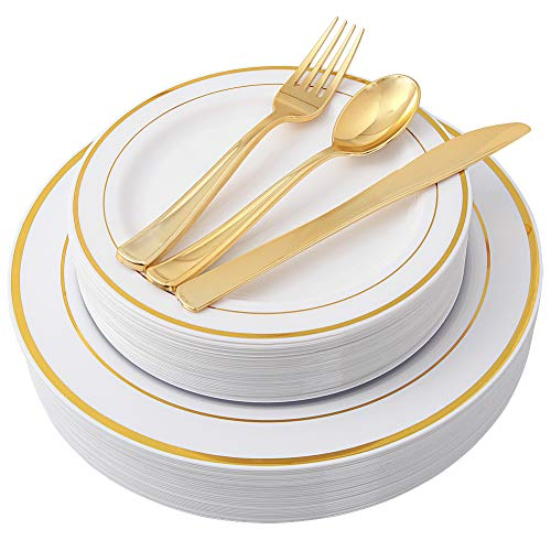 100 Piece Gold Plastic Plates with Gold Silverware, Premium Plastic Dinnerware Set Includes : 20 Dinner Plates, 20 Dessert Plates, 20 Forks, 20 Knives and 20 Spoons