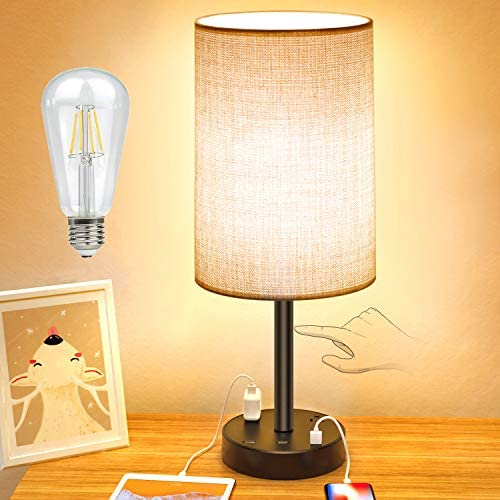 USB Table Lamp Touch Control Desk Lamp with 3 USB Charging Ports 2 AC Outlet 3 Level Brightness product image