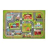 Relaxdays Alfombra de Juego con diseño de Ciudad, Antideslizante, para niños y niñas, poliéster, 150 x 100 cm, Multicolor, 1 Unidad