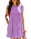 Soulomelody Womens Summer Dresses Floral Print Smocked Crew Neck Ruffle Flowy Sexy Babydoll Dress Purple