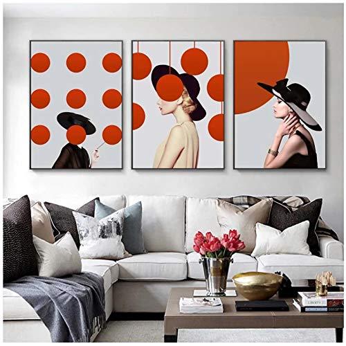 Moda Mujer Lunares con Sombrero Cartel de Arte de Pared Moderno Minimalista Rojo Blanco Lienzo Pintura impresión imágenes para habitación Liing 7.8x11.8in (20x30cm) x3psc sin Marco