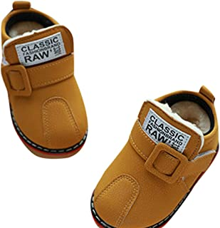 Hopscotch Baby Boys PU Text Applique Velcro Ankle Length Boots - Yellow