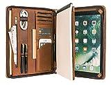 Schreibmappe Leder A4 Konferenzmappe Organizer mit Reißverschluss, Hochwertige Handgemacht...