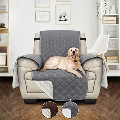 Utopia Bedding Waterproof Sofa Cover with Adjustable Elastic Straps – Non Slip Furniture Protector for Pets (1 Seater, Grey/Beige) [NOT SUITABLE FOR LEATHER SOFA]