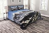ABAKUHAUS Berge Tagesdecke Set, Winterzeit Maroon Bells, Set mit Kissenbezügen Mit Digitaldruck, 264 x 220 cm, Azurblau Dunkelgrau