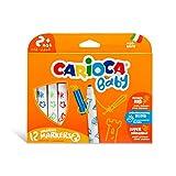 Carioca Baby Valorous Markers 2+ | Rotuladores Super Lavables para Bebés a Partir de 2 años, Punta Redondeada y Colores Surtidos, 12 Uds.