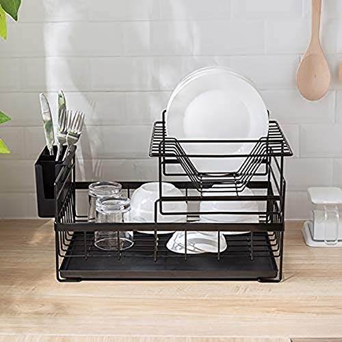 MIAO Dish Drainer Dish Drying Rack mit Drainboard Drainer Küche Light Duty Countertop Utensil Organizer Lagerung für Home Black 2-Tier Küche (Farbe: Schwarz, Größe: 2 Tier)