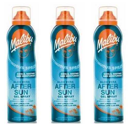 3 Malibu Aerosol Continuous Aftersun Gel Spray with Aloe Vera. Pack Contains 3 Bottles - 175ml Each