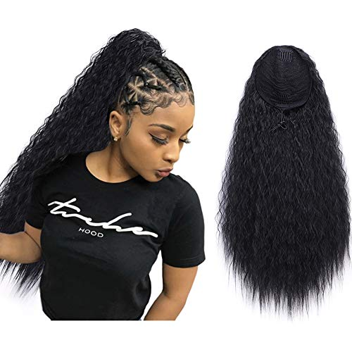 """AISI QUEENS 22"""" Long Drawstring Ponytail Synthetic Corn Wave Black Ponytail Extension Hairpiece Long Wavy Clip on Ponytail for Women (Color: 1B#)"""