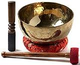 BUDDHAFIGUREN Ciotola di canto tibetano buddista fatto a mano - 1000 g - 1100 g con accessori, set di 4 pezzi