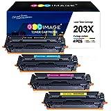 GPC Image 203X 203A Cartuchos de tóner Compatible para HP 203X 203A CF540X CF541X CF542X CF543X para HP Color LaserJet Pro MFP M281fdw M254dw MFP M281fdn M280nw M254nw (Negro/Cian/Magenta/Amarillo,4P)