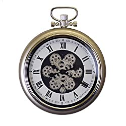 IMPORTED GIFT DEPOT Metal Skeleton Pocket Watch Style Wall Clock with Roman Numerals and Actual Moving Gears