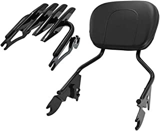 Dasen Glossy Black Triple Polished Sissy Bar Passenger Backrest Quick-Detach w/Pad & Stealth Luggage Rack For Harley Touring Road King Street Electra Road Glide 2009-2019