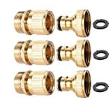 3Sets Garden Hose Quick Connect 3/4 inch GHT Brass Easy Connector Fitting - Quick Disconnect Hose Fittings Male and Female (3Pair)
