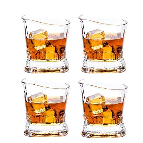 AGGF Vaso de Whisky escocés, 4 Vasos de Cristal para Beber de Ultra claridad, 100% cristalería sin Plomo, Apto para lavavajillas, para cóctel de Licor Bourbon en Las Rocas